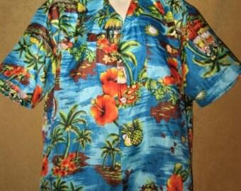 Mens Tropical Shirt Print 60s 70s Vintage