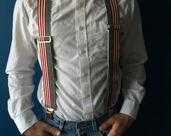 1990s vintage red white and blue suspenders