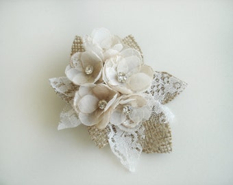 Bridal Headpiece, Rustic Hair Comb, Burlap Lace Wedding Hair Accessories, Champagne Hair Pieces, Ivory Wedding Hair Clip Bridal Fascinator