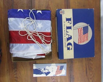 Vintage Annin American flag unused 1966 boxed
