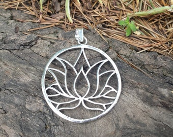 Silver Plate Simple Lotus Pendant - Tribal Pendant,Ethnic Pendant ,Boho Pendant, Egyptian Pendant