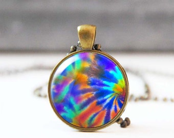 Tie dye necklace, Hippie necklace, 60s retro necklace, Colorful Bohemian Psychedelic necklace, 5059-12, Mother's day gift