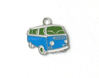 1-5 Green and Blue Hippy Bus or Van. Enameled colored front with smooth back. Nice quality. Peace love happiness groovy baby!
