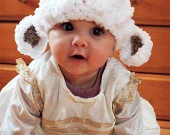 6 to 12m Baby Lamb Hat, Baby Sheep Hat, Easter Lamb Beanie, Baby Girl Hat, Crochet Lamb Hat Farm Animal Boy Hat, White Brown Lamb Prop