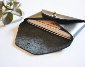 Black leather card holder / Black envelope card holder / Black leather business card case / Genuine leather