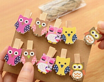 10 Pcs Mini Owl Wooden Clothespin