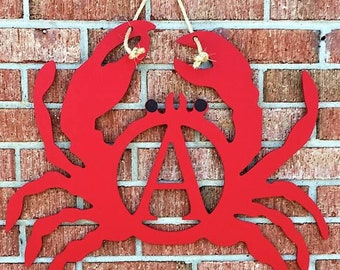 Crab monograms red crab blue crab unique front door crab lover beach home cottage housewarming personalized  initials BeachHouseDreamsOBX