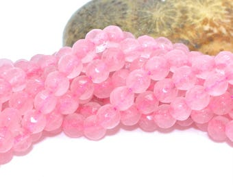 Pink faceted jade 4mm 50 beads
