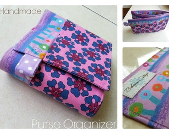 24 inch / 7 pockets Purse / Bag Organizer Insert - (medium) purple pink blue floral cotton fabric
