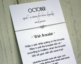 October Birthstone Bracelet - October Birthstone Wish Bracelet - Opal Bracelet - Opal Wish Bracelet - October Birthday Bracelet