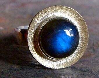 Labradorite Large Cabochon Sterling Silver Ring - Labradorite Ring with Gold Brass Metalwork