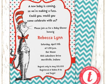 Dr. Suess | Cat in Hat Invitation | Baby Shower | Printable Editable Digital PDF File | Templett | BSI242DIY