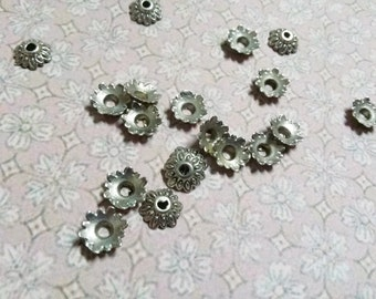 8mm Bead Caps Antiqued Silver Wholesale Bead Caps 200 pieces Bulk Findings