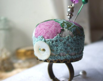 Patchwork Pincushion Ring, Lilac and Green