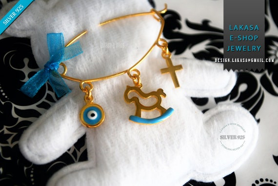 Blue Enamel Pony Carousel Baby Brooch Sterling Silver Gold Handmade Jewelry Cross Eye Mama Happy Shower Day Religious Baptism Newborn Boy