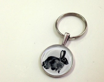 NEW Fauna Keychain fob- Bunny - handmade from original artwork