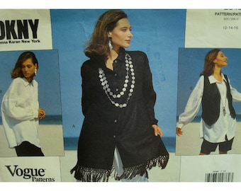 90s DKNY Shirt Pattern, Round Yoke, Pointed Collar, Flared, Long Sleeves, Short Vest, Donna Karan Vogue 2648 Size 12