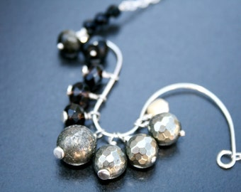 FAIRYLAND OMBRE Pyrite, Onyx, Golden Obsidian, Smoky Quartz and Sterling Necklace