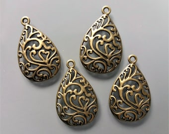 4 pendants perforated metal color bronze