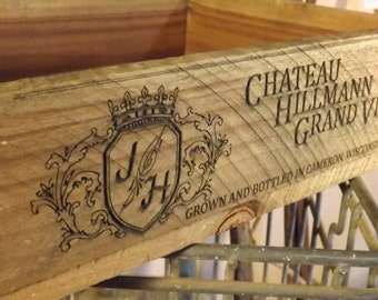 Personalized Wine Crate, laser engraved, advertising crate, home decor, vintage inspired, gift, wedding decor, laser engraved