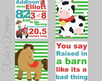 Boys Nursery - Farm Nursery Wall Art - Farm Nursery Art - Farm Nursery Decor- Farm Prints - Horse Cow - Birth Stats - Birth Info - Animals