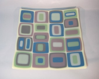 Stacked Squares Fused Glass Plate