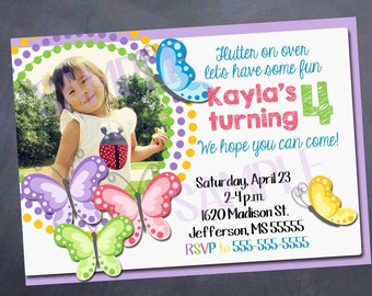 Printable Butterfly Birthday Invitation - Butterfly - Spring - 5x7