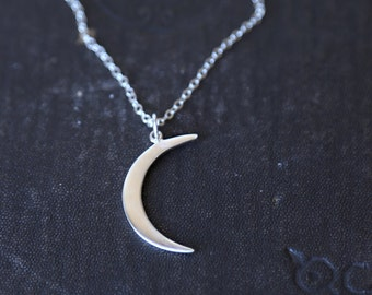 Long Crescent Moon Necklace in Sterling Silver / Sterling Moon Necklace / Simple Silver Necklace / Silver Crescent Necklace