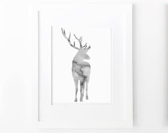 deer watercolor grey wall art neutral colors woodland animal nursery wall decor abstract stag printable digital print instant download jpg
