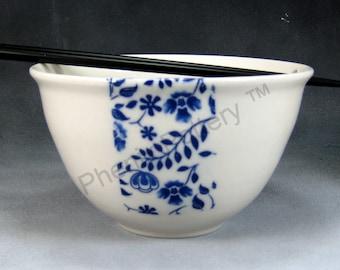 Noodle Bowl 24 oz Blue and White Flowers Chopstick Bowl, Pho Bowl, Rice Bowl, Soup Bowl, Stir Fry Bowl Hand Thrown Porcelain Pottery