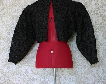 Vintage Virginie Black Lace Bolero Jacket 38