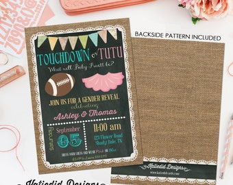 gender reveal invitation touchdowns or tutus baby shower neutral twin football coed sprinkle couples sip and see burlap   1431 Katiedid Card