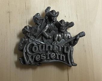 Vintage Country Western Pewter Belt buckle