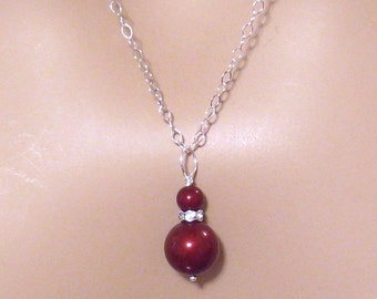 Red Pearl and Crystal Rhinestone Bridesmaids Necklace: Swarovsky Bordeaux Apple Red Wedding Jewelry, Sterling Silver, Bridesmaids Gift