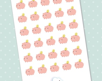 Kawaii stickers - Set of 30 cute piggy bank planner stickers for your Erin Condren, Filofax, Midori, Kikki K and Webster's Pages etc..