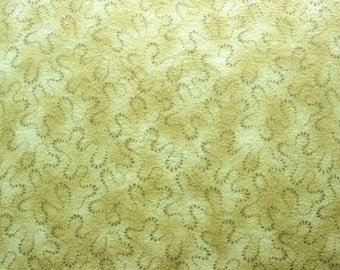 42 X 36 Moss Green Swirl Print Cotton Flannel Fabric Remnant