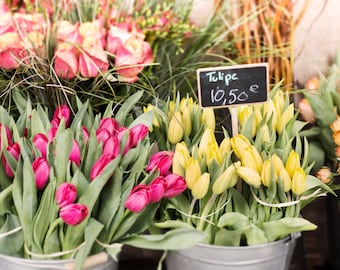 Paris Spring Photography - Market Tulips, Paris Kitchen Decor, French Travel Photograph, Large Wall Art
