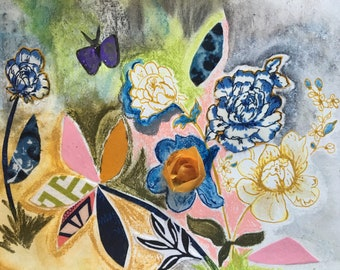 Kurt's Butterfly/Original Floral Mixed Media/Spring Collage