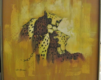 Vintage Leopard Wild Life Animal Canvas Oil Wall Painting