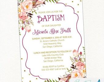 Floral Baptism Invitation | girl  baptism, blush flower,  shabby chic, cross, communion, baby, christening | digital, printable invitation
