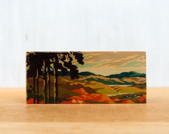 Paint by Number Art Block - 'Fall Sunset Panorama' - autumn, tree silhouette, vintage landscape