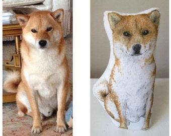 Custom dog plush hand painted personalized dog portrait realistic drawing pillow dog replica plush for dog lovers akita inu shiba inu