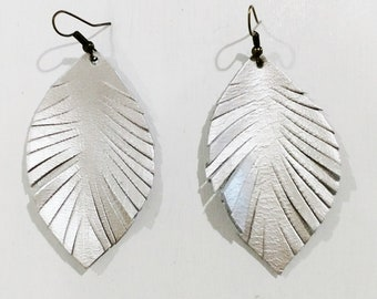Light metallic silver leather feather earrings