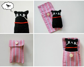 Black Cat Cuff Critter - Tiny Plushie - Stocking Stuffer - Tween Gift - Plush - Kitty - Pocket-Sized - Upcycled - Kitten - Mini Pet - easter