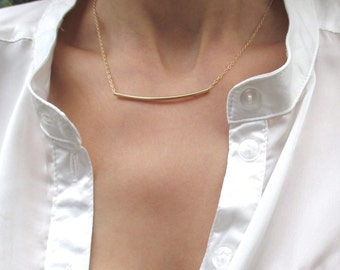 Gold curved bar necklace, Bar necklace gold, Simple tube necklace, Delicate gold necklace, Everyday necklace, Minimalist necklace
