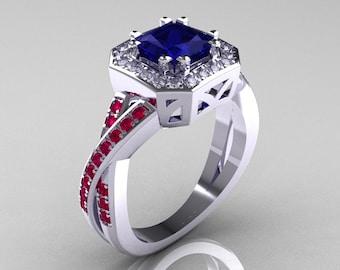 American Classic 14K White Gold 1.23 CT Princess Blue Sapphire Ruby Diamond Engagement Ring R189P-14KWGDRBS