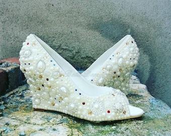 Cinderella Wedding Shoes, Pearl Rhinestone, Wedge Wedding Shoes, Bridal Shoe's, Wedge Bridal Shoes, Pearl Wedge Wedding Shoes