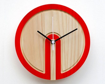 Wooden Colour 'Switch' Clock (red)