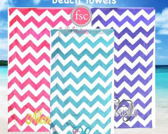 Monogrammed Chevron Beach towels , personalized beach towels , bridesmaid beach towels , kids beach towels , summer camp towels