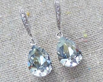 Swarovski Crystal Pale French Blue Pear Tear Stone Rhinestone Dangling Delicate Bridal Wedding Silver Cubic Zirconia Bridal Earrings